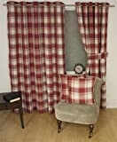 """Jacquard Schottenmuster Kariert Rot 45x72"""" 114x183cm Gefüttert Ring Oberseite Curtains Vorhänge"""