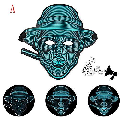 Wanshop  Sound Reaktive LED Halloween Masken, Sound Reactive LED Maske Tanz Rave Licht Einstellbare Maske Für Festival,Cosplay,Halloween,Kostüm,Batterie Angetrieben ()