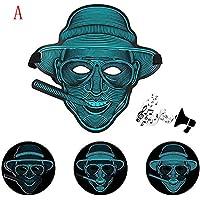 Preisvergleich für Wanshop Sound Reaktive LED Halloween Masken, Sound Reactive LED Maske Tanz Rave Licht Einstellbare Maske Für Festival,Cosplay,Halloween,Kostüm,Batterie Angetrieben