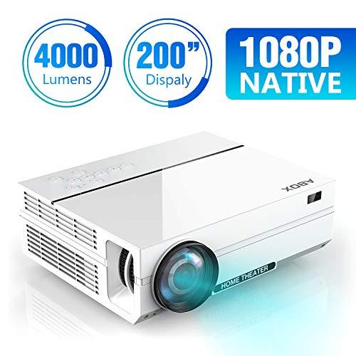 *ABOX 4000 Lumen Beamer, Native 1080p (1920 x 1080) LED Videoprojektor tragbarer Full HD, unterstützt HDMI USB SD VGA AV Laptop,Smartphone perfekt für Fußballspiele,Filme-Weiß*