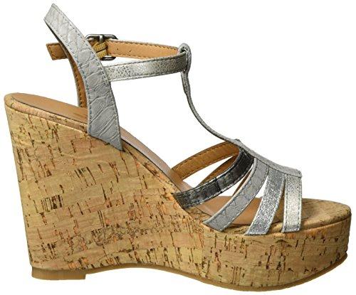 Fritzi aus Preussen Fashion Wedge 06, Sandales Compensées femme Argenté