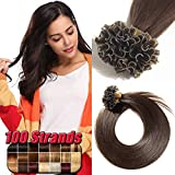 Extension Cheveux Naturel Keratine a Chaud Cheveux Humains - Pre Bonded U Tip Remy Human Hair Extensions - #2 CHATAIN FONCE - 55CM (0.5g*100 Mèches)