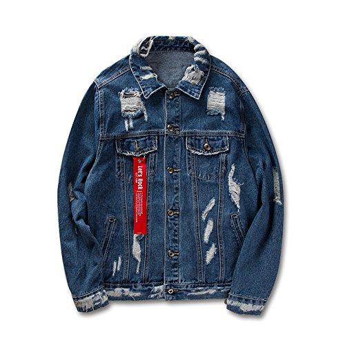 NZSYZXYD Jacket Denim Coat Street Fashion Jacket Jacket Uomo, Coppia, Blu, XL