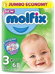 Molfix Anti Leakage Comfortable Baby Diapers, Jumbo Mega Pack, 4-9 kg, 3 Midi, 204 Count