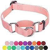 Blueberry Pet Sicherheitstraining Martingale Hundehalsband Klassisch Einfarbig 2 cm M Basic Polyester Nylon Hundehalsband Langlebig - Baby Pink