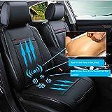 XIAOYA Auto Sitzkissen Beheizbar Sitzauflage Mit Heizung- Und Kühlungfunktion Und 3D Belüfteten Löchern Tragbar Für Auto Zuhause Ganzjährige Benutzung,Black,12V