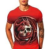 Herren Sommer-beiläufige Kurze Hülsen T-Shirt Weiches Jersey Rundhalsausschnitt Casual Top T-Stücke Tees mit Lustig Dragon & Skull-Druck(XL)