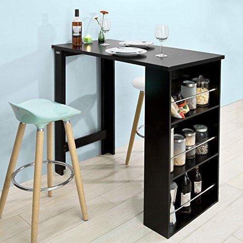 SoBuy® FWT17-SCH Bartisch, Beistelltisch, Küchentheke, Küchenbartisch mit 3 Regalfächern, schwarz, BHT ca: 112x106x57cm
