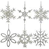 regali fiocco di neve decorazioni d'attaccatura del partito glitter 15,24 centimetri set di 6