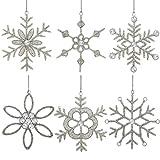 ShalinIndia Set aus 6 handgefertigten Schneeflocken, Parteischmuck aus Eisen und Glas zum Aufhängen 15 cm