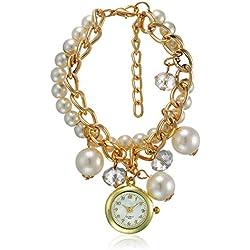 Bolt Analog White Dial trendy bracelet Women's Watch - srg016