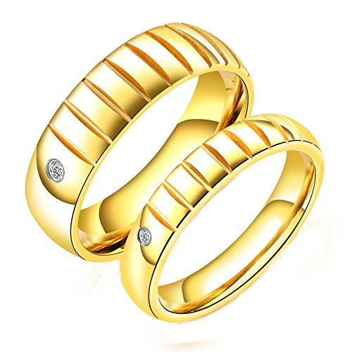 Für Ihn Diamant-hochzeit Ring-sätze (OAKKY Damen Edelstahl Valentinstag Golden Romantische Diamant Intarsien Groove Paar Ring Mit Stein Größe 54)