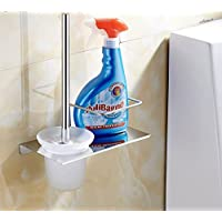 Mmhy scopino WC spazzole creative Space aluminum Cup Holder con testa spazzolone con mensole, bright your life B