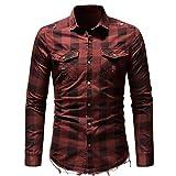 Slim Fit Herren Plaid Shirt Knopf mit Tasche Langarmshirts Bluse GreatestPAK T-Shirts