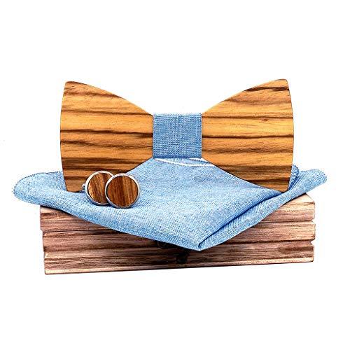 DeHolifer Herren Streifen Holz Fliege Bogen aus Handgemachte Fliege Set inkl1 Fliege + 2 Manschettenknöpfe +1 Brosche +1 quadratisches Handtuch +1 Holzkiste -