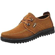Zapatos Planos con Cordones Hombre ZARLLE Zapatos Casuales De Negocios Hechos A Mano Mocasines De ConduccióN