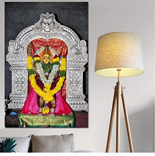 Indische Leinwand Kunst (HXQQ Religiöser Buddha Leinwand Kunst Indischer Gott Figur Malerei Religiöse Poster und Drucke Ungerahmt Wandbild für Living40x60cm)