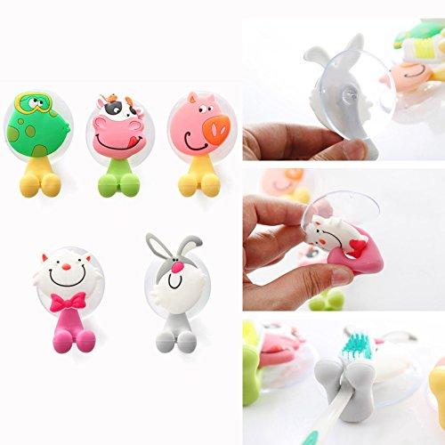 5 Stück Zahnbürstenhalter Kinder Cartoon Tiere Sauger Haken Wand Tiere Cartoon Halter mit Saugnapf für Zahnbürsten Halterung Wandhalterung - Gearmax