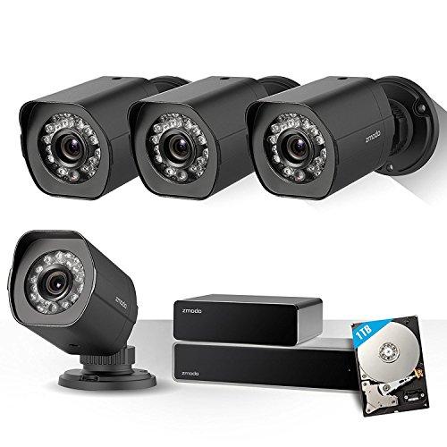 Zmodo 4-Kanal 1080p NVR sPoE Überwachungsystem, 4x1080p Bullet Überwachungskameras für Innen-/Außen,IP65 wasserdicht, Nachtsicht, Bewegungsmelder, 1TB HDD Diy Wireless-alarm-kit