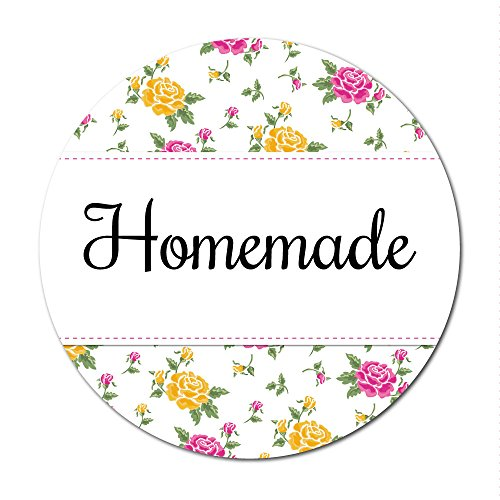 Handmade or homemade stickers 30mm diameter floral design homemade