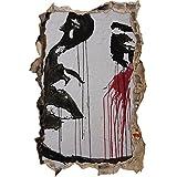 abstraite femme triste visage mur percée en 3D look, mur ou format vignette de la porte: 92x62cm, stickers muraux, sticker mural, décoration murale