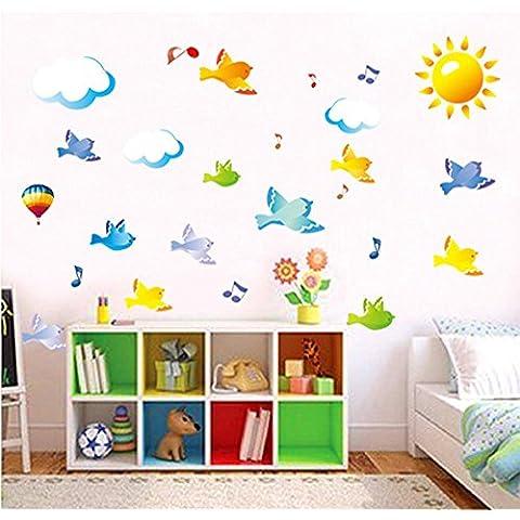 ufengke® Flyings Uccelli e Note Musicali Adesivi Murali, Camera dei Bambini Vivai Adesivi da Parete Removibili/Stickers Murali/Decorazione Murale
