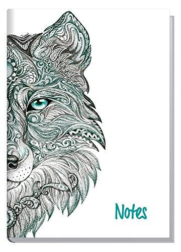 Notizbuch A5 kariert [Wolf] von Trendstuff by Häfft | als Tagebuch, Bullet Journal, Ideenbuch, Skizzenbuch | stylish, robust, biegsam, abwischbares Cover