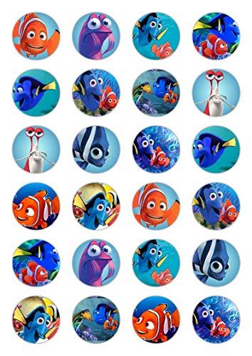 24 x Findet Nemo Celebration Essbare Papier-Cupcake-Topper Kuchen-Dekorationen Geburtstag