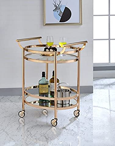 ComfortScape Contemporary Kitchen Serving Cart with Tempered Glass Shelves & Open Storage, Rose