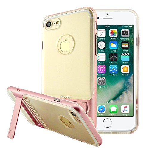 iPhone 8 Plus Hülle, Fraelc iPhone 7 Plus Transparent Schutzhülle Case Premium Kratzfest TPU Durchsichtige Tasche mit Harten Plastik Bumper Klappständer Handyhülle für Apple iPhone 7 Plus / iPhone 8 P Rose Gold