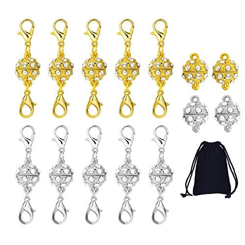 10 Stück Magnetische Schmuck Verschlüsse (Strass Ball Style mit Karabinerverschluss) und 4 Stück Strass Magnetische Perlen für Schmuck Halskette Armband, Gold und Silber