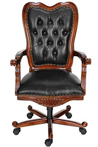 MOREKO Antik-Stil Drehstuhl Massiv-Holz Mahagoni Bürostuhl höhenverstellbarer Schreibtisch-Stuhl schwarz - Stil Mahagoni Schreibtisch