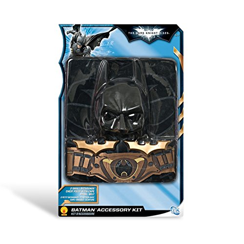 Batman The Dark Knight Rises 5-tlg. Kinder Kostüm Set mit Maske Oberteil Umhang Batarangs, für (Dark Rises Knight Cape)