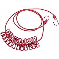 GKANGU 185CM Duradero salvaje portátil portátil resistente al viento de la cuerda de tender la ropa 12 clavijas clips de suspensión de ropa de secado de ropa de colgar cuerda línea