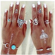 8er set, Fashion Trend Finger Nagel Ringe, Stapelringe, Vintage Midi-Ringe in unterschiedlichen Motiven Elefant ., schöne Accessoires, Schmuck set JZ010