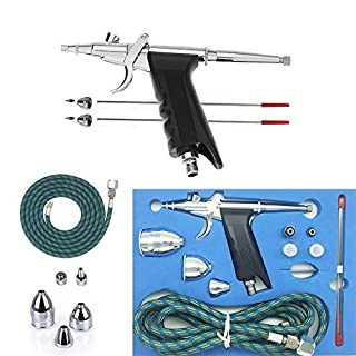 Gocheer Professional Airbrush Complete Set,Double Action Airbrush Pistole,with 3 Fluid Cups 0.2mm and 0.5mm Nozzles and Needles Art Brush Tattoo Manicure Spray Model Air Brush Nail Tool