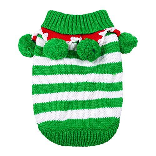 Hund Herbst/Winter-Tier-Kostüm Strickpullover Haustier-Pullover Süße Weihnachts Style, Grün, (Kinder Dalmatiner Kostüme Hund Welpe)