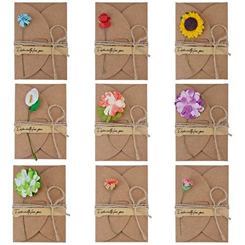 GrußKarte, Funpa 9 Stück Retro Grußkarte Vintage Kraftpapier Grußkarten Set mit Umschlag Handgemachte Grußkarten Blanko mit Getrocknete Blumen Danke Karte (Grußkarten Schreibwaren)