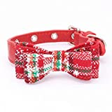 Jamory Weinachten Hundehalsband Halsband klein mittelgroße Hunde Zubehör unterwegs Deko Geschenk Schleife (XS,Weihnachtsrote Schneeflocke)