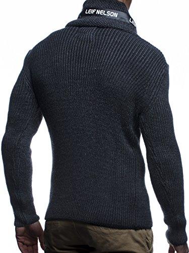LEIF NELSON Herren Hoodie Cargo Stil Pullover Strickpullover Sweatshirt Sweater Pulli Winterpullover LN5460 Anthrazit-Schwarz