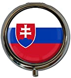 "metALUm Premium Pillendose in runder Form ""Flagge Slowakien"" Bild"