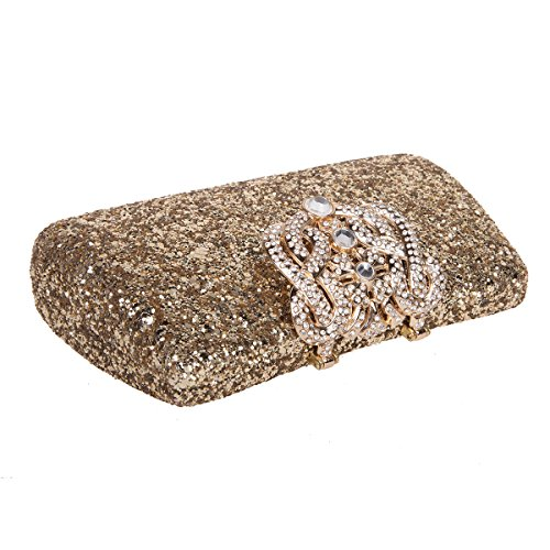 Bonjanvye Shining Crown Glitter Party Purses and Handbags for Womens Red gold