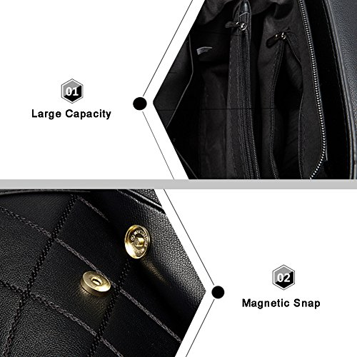 Yoome Tiny Einfache Vintage Klappe Tasche Rhombic Pattern Pure Farbe Top Griff Handtaschen für Frauen - Schwarz Rot