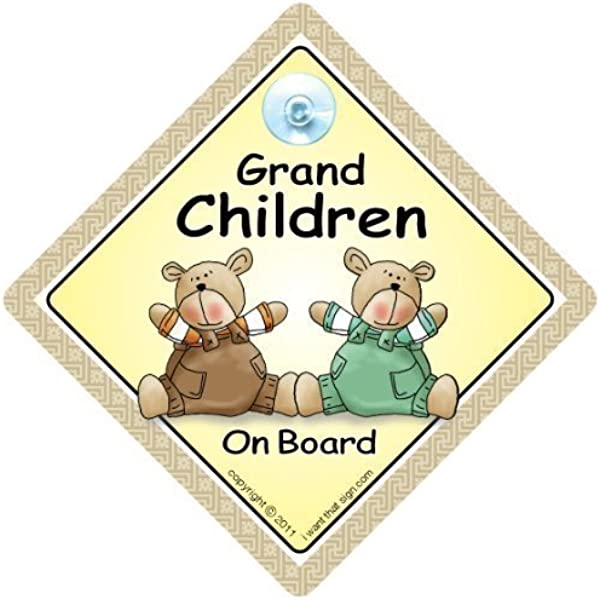 Baby On Board Sign SUNGLASSES Suction Cup Sign GRANDCHILD On Board Car Sign