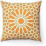 Impresión de 43x 43cm de diseño geométrico de azulejos marroquíes–Funda de almohada cojín naranja