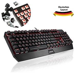 YKS Mechanische Tastatur Gaming Tastatur QWERTZ DEUTSCHE mit Anti-Ghosting 105 Tasten mit USB Kabel Red Switch und Full Red Beleuchtung Einstellbar, Multimedia Tasten, 19 Tasten nicht Konflikt