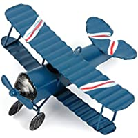 evilandat Vintage avión decoración modelo biplano avión en hierro miniatura decoración de casa Collection adorno escritorio, azul