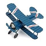 Evilatat Vintage Flugzeug Modell Eisenmodell Metall Flugzeug-Dekoration Doppeldecker Flugzeug Miniatur Dekoration Sammlung Büro Ornament Blau