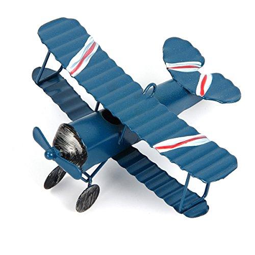 Evilatat Vintage Flugzeug Modell Eisenmodell Metall Flugzeug-Dekoration Doppeldecker Flugzeug Miniatur Dekoration Sammlung Büro Ornament Blau (Vintage Spielzeug Flugzeuge)