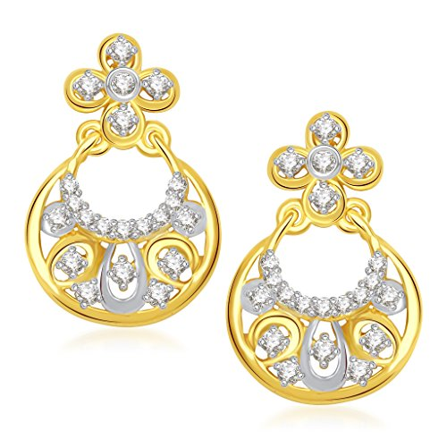VK Jewels Ravishing Gold and Rhodium Plated Alloy Chand Bali Earrings for Women & Girls made with Cubic Zirconia -ER1360G [VKER1360G]  available at amazon for Rs.242